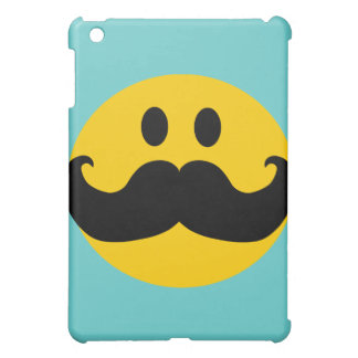 Mustache Smiley (Customizable background color) iPad Mini Cases