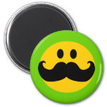 Mustache Smiley (Customizable background color) Refrigerator Magnet