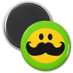 Round Magnet with Mustache with Monocle Smiley design