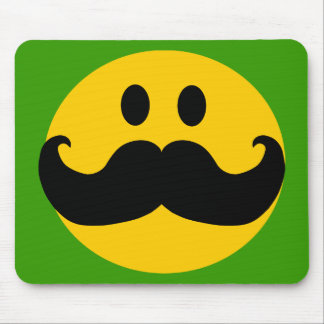 Mustache Smiley Customizable background color Mouse Pads