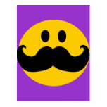 Mustache Smiley (Customizable background color) Postcard