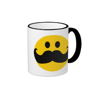 Mustache Smiley (Customizable background color) Ringer Mug