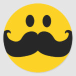 Mustache Smiley (Customizable background color) Classic Round Sticker