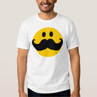 Mustache Smiley (Customizable background color) T-Shirt