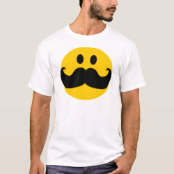 Men's Basic T-Shirt with Mustache with Monocle Smiley design