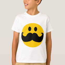 Kids' Hanes TAGLESS® T-Shirt with Mustache with Monocle Smiley design