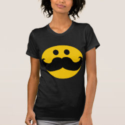 Women's American Apparel Fine Jersey Short Sleeve T-Shirt with Mustache with Monocle Smiley design