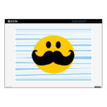 "Mustache Smiley Decals For 15"" Laptops"