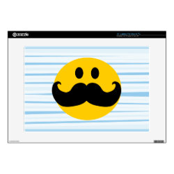17' Laptop Skin for Mac & PC with Mustache with Monocle Smiley design