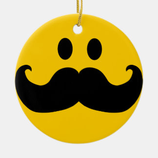 Mustache Smiley Double-Sided Ceramic Round Christmas Ornament
