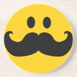 Sandstone Drink Coaster with Mustache with Monocle Smiley design