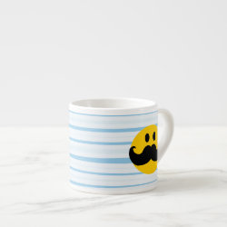 Espresso Cup with Mustache with Monocle Smiley design