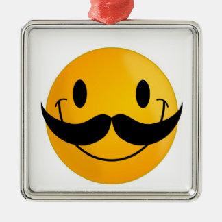 MUSTACHE SMILEY FACE METAL ORNAMENT