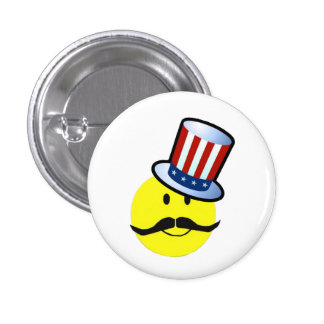 Mustache Smiley Face Pins / 4th of July Pins