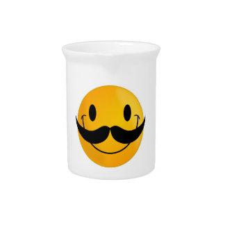 MUSTACHE SMILEY FACE PITCHERS