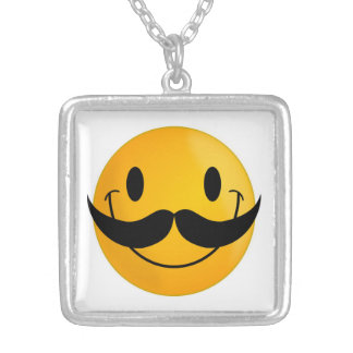 MUSTACHE SMILEY FACE SILVER PLATED NECKLACE