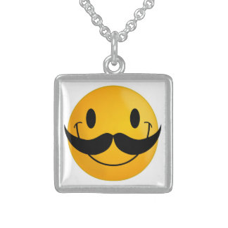 MUSTACHE SMILEY FACE STERLING SILVER NECKLACE