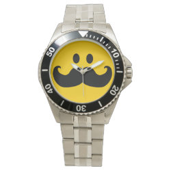 Men's Stainless Steel Bracelet Watch with Mustache with Monocle Smiley design