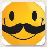 mustache smiley happy smiling beverage coaster