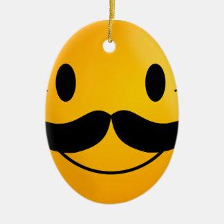 mustache smiley happy smiling ceramic ornament