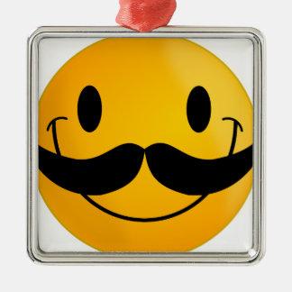 mustache smiley happy smiling metal ornament