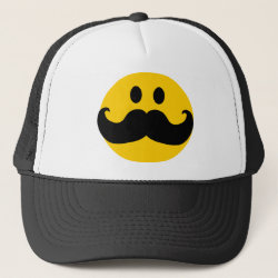 Trucker Hat with Mustache with Monocle Smiley design