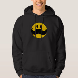 Men's Basic Hooded Sweatshirt with Mustache with Monocle Smiley design