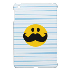 Case Savvy iPad Mini Glossy Finish Case with Mustache with Monocle Smiley design