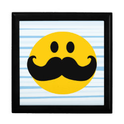 Large 7.125' Square w/6' Tile Gift Box with Mustache with Monocle Smiley design