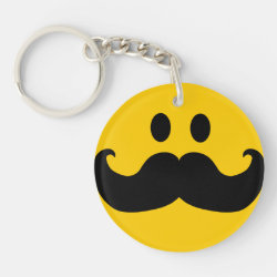 Circle Keychain (double-sided) with Mustache with Monocle Smiley design