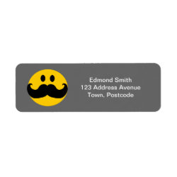 Return Label with Mustache with Monocle Smiley design