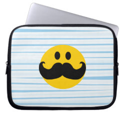 Neoprene Laptop Sleeve 10 inch with Mustache with Monocle Smiley design