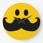 Mustache Smiley Large Clock