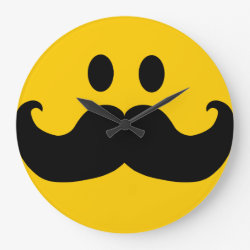 Large Round Wall Clock with Mustache with Monocle Smiley design