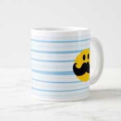 Jumbo Mug with Mustache with Monocle Smiley design