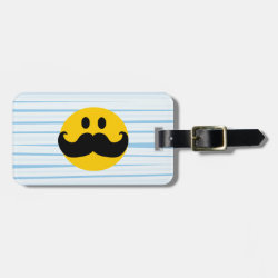 Small Luggage Tag with leather strap with Mustache with Monocle Smiley design