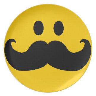 Mustache Smiley Melamine Plate