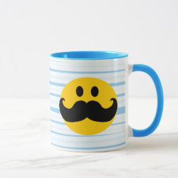 Combo Mug with Mustache with Monocle Smiley design