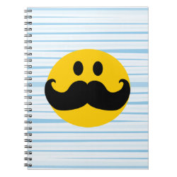 Photo Notebook (6.5' x 8.75', 80 Pages B&W) with Mustache with Monocle Smiley design