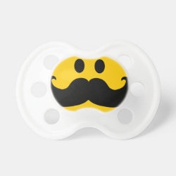 BooginHead® Custom Pacifier (6+ Months) with Mustache with Monocle Smiley design