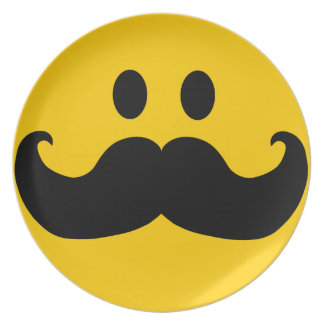 Mustache Smiley Plates
