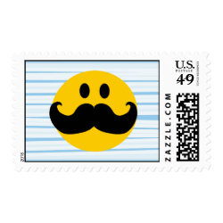 Medium Stamp 2.1' x 1.3' with Mustache with Monocle Smiley design
