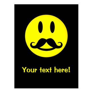 Mustache Smiley postcard, customize Postcard