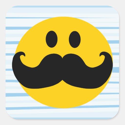 Mustache Smiley Square Sticker