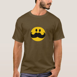 Men's Basic Dark T-Shirt with Mustache with Monocle Smiley design