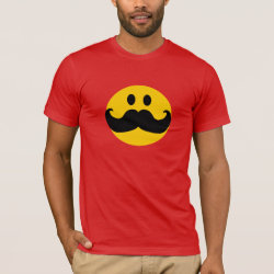 Men's Basic American Apparel T-Shirt with Mustache with Monocle Smiley design