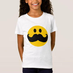 Girls' Fine Jersey T-Shirt with Mustache with Monocle Smiley design