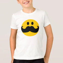 Kids' American Apparel Fine Jersey T-Shirt with Mustache with Monocle Smiley design