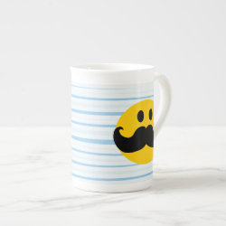 Mustache with Monocle Smiley Bone China Mug