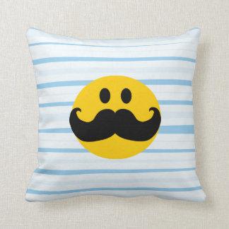 Mustache Smiley Throw Pillow